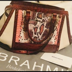 Brahmin Arden Melon Fisher Phython Embos Leather